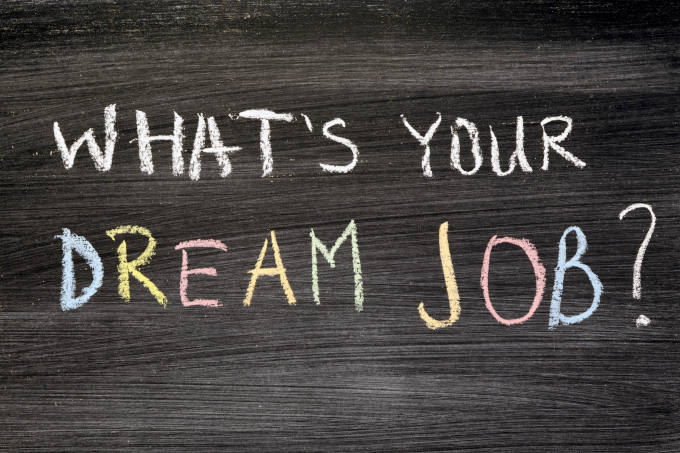 What's your dream job? Phrase handwritten on chalkboard