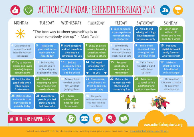Friendly February 2019 - Action Calendar image
